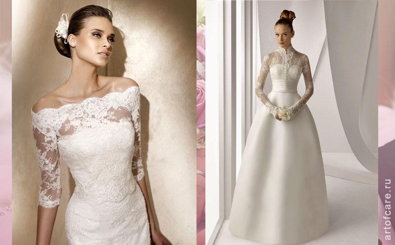 Поможет в создании образа платье с длинным рукавом из тонкого кружева, достойное аристократки. Практически все дизайнеры на показах недель свадебной моды