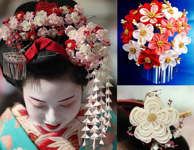 Канзаши украшения для волос фото