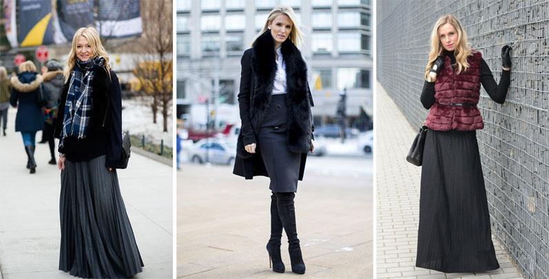 С чем носить длинную юбку осень зима