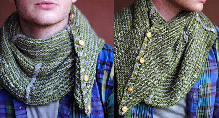 Мужской вязаный шарф своими руками